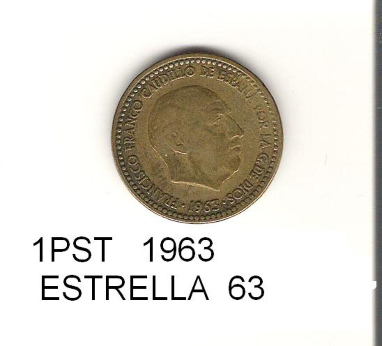 1 Peseta 1963 (* 19-63). Francisco Franco. Estado Español.  1_PST_4