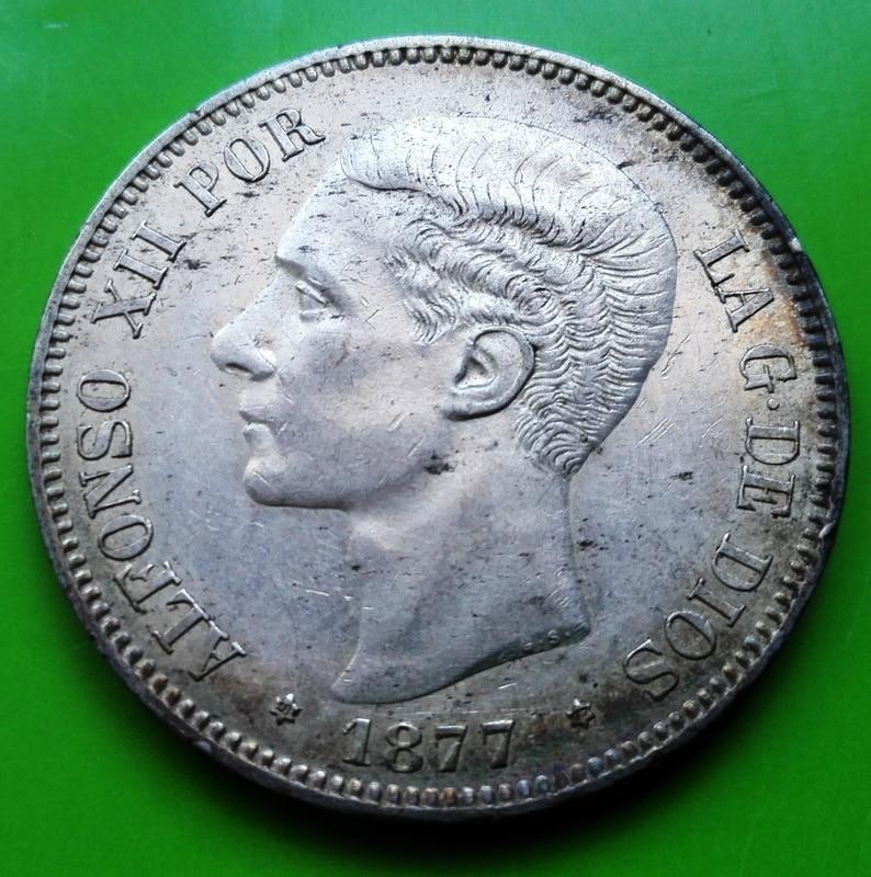5 pesetas 1877. Alfonso XII. DE M 5_pts_1877_1