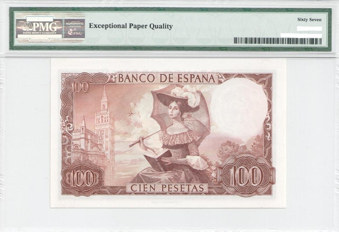 Colección de billetes españoles, sin serie o serie A de Sefcor - Página 3 100_ptas_65_reverso