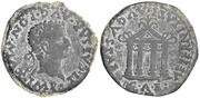 As de Emérita Augusta. AETERNITATI AVGVSTAE - C A E. Templo tetrástilo. Image