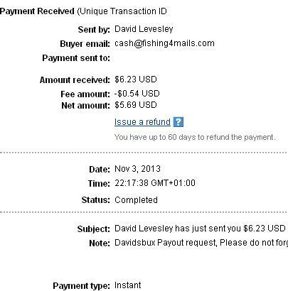 25º Pago de Davidsbux ( $6,23 ) Davidsbuxpayment