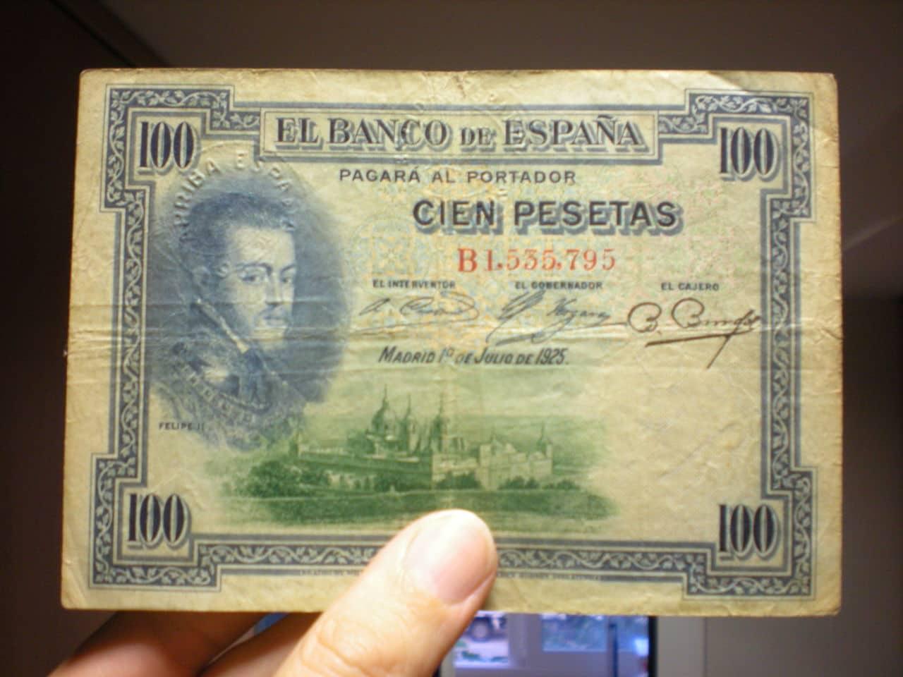 100 Pesetas 1925 (Tres sellos secos:Arriba España, Burgos y República) DSCN3630