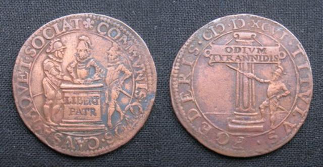 Jetón holandés acuñado en 1596. Tratado de Greenwich y La Haya contra España. Jeton_Felipe_II_1596_Triple_Alianza_de_Francia