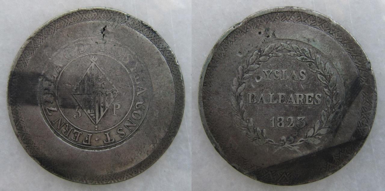 """5 Pesetas 1823. Fernando VII. Mallorca (Variante """"CONST"""") 5_Ptas._Fernando_VII_1823_Mallorca"""
