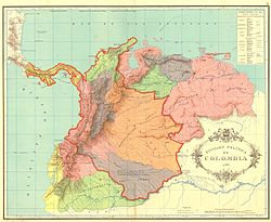 5 Bolivares de 1929 Venezuela Gran_Colombia_map_1824