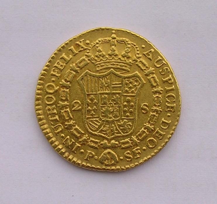 2 escudos 1784. Carlos III. Popayán. Moneda_oro_004