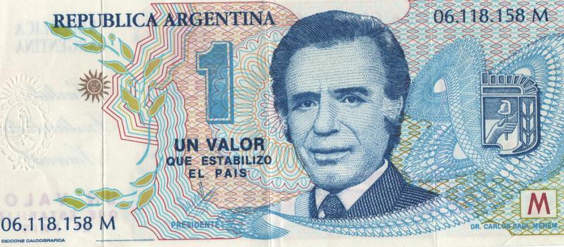 1 Valor Argentina, 1990 (Curioso y controvertido) Anverso_menemtrucho