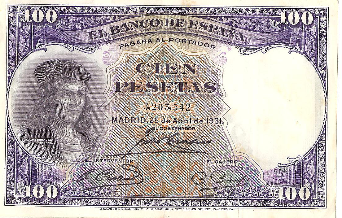 100 Pesetas 1931 (Gonzalo Fernandez de Cordoba) Image