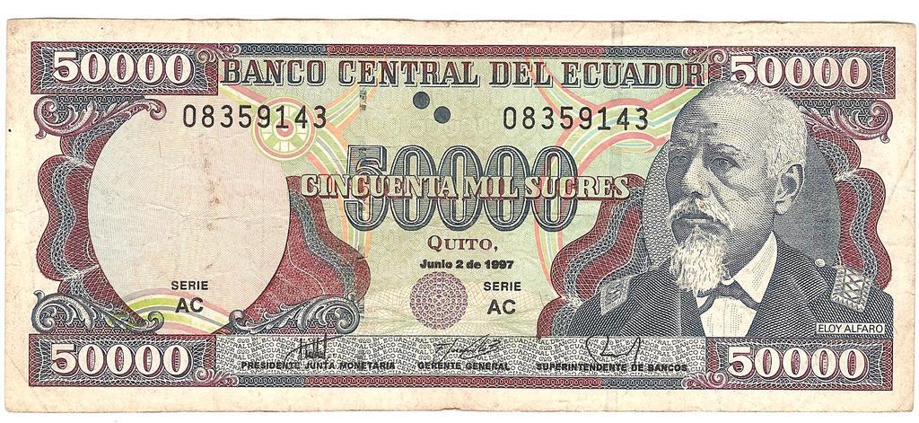 50000 sucres de Ecuador año 1997 Image