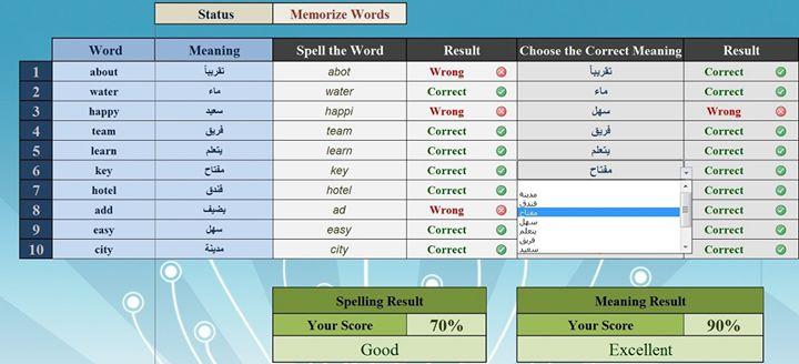 Excel خطة لحفظ 10 كلمات يوميا مدعومة بملف 466295_528671467148276_1319361553_o
