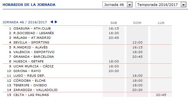 LA QUINIELA DE ZONAMALAGUISTA. J29ª (1-2-3 Abril) JQ_Horarios