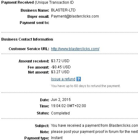 1º Pago de Blasterclicks ( $3,72 ) Blasterclickspayment