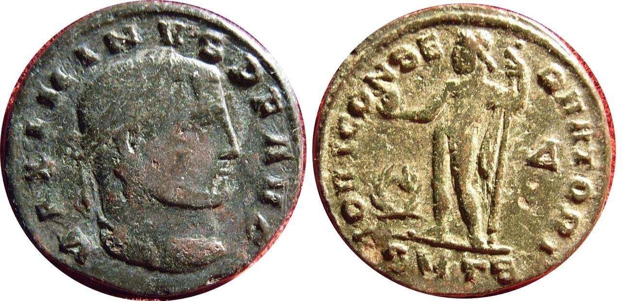 Nummus de Maximino II Daza. Nummus_maximino_ii_daza