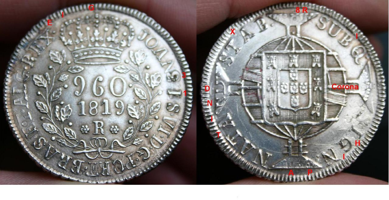 960 Reis 1819 brasileños acuñados sobre 8 Reales 1813 de Fernando VII 960_Reis_1819_over_8_Reales_1813_2