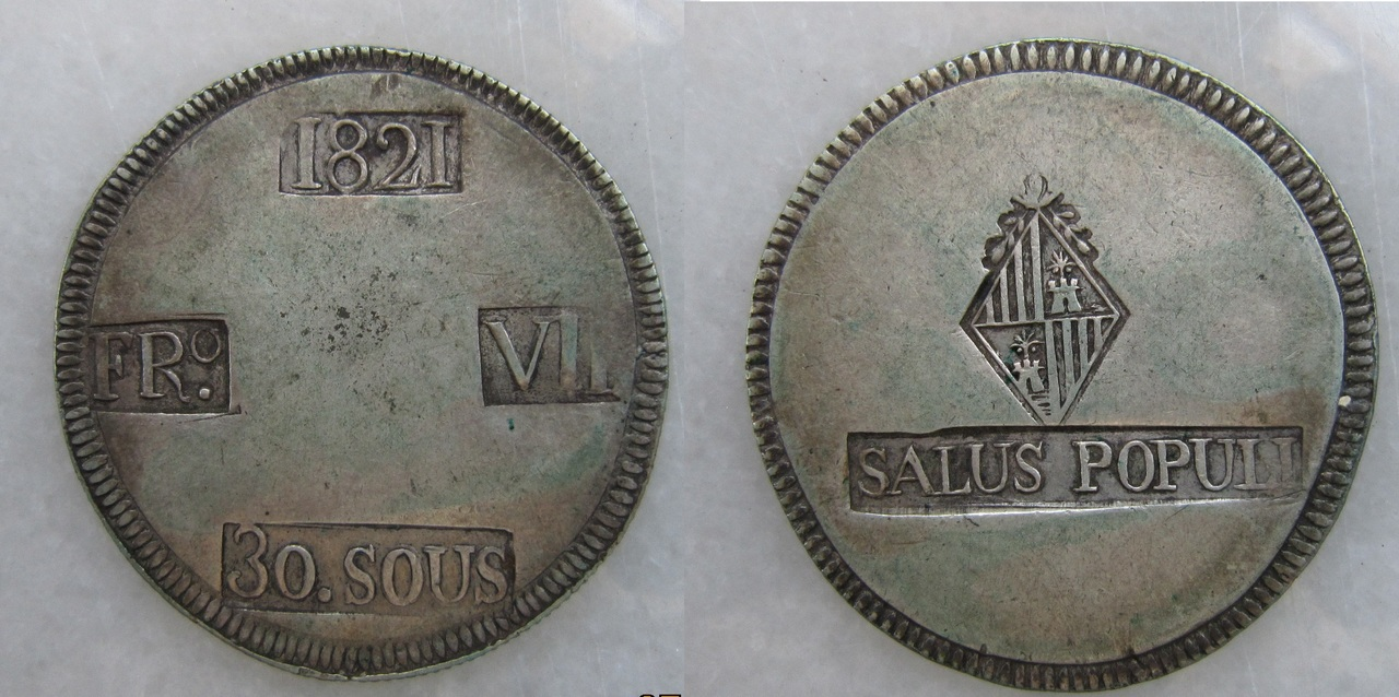30 Sous 1821. Fernando VII. Palma de Mallorca. 30_sous_1821_Palma_de_Mallorca_Fernando_VII