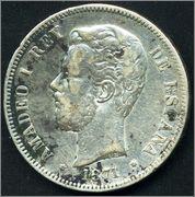 5 Pesetas. 1871 DEM *18 *73(?) - Amadeo I. 0303_Amadeo_I_1871_DEM_5_pesetas001