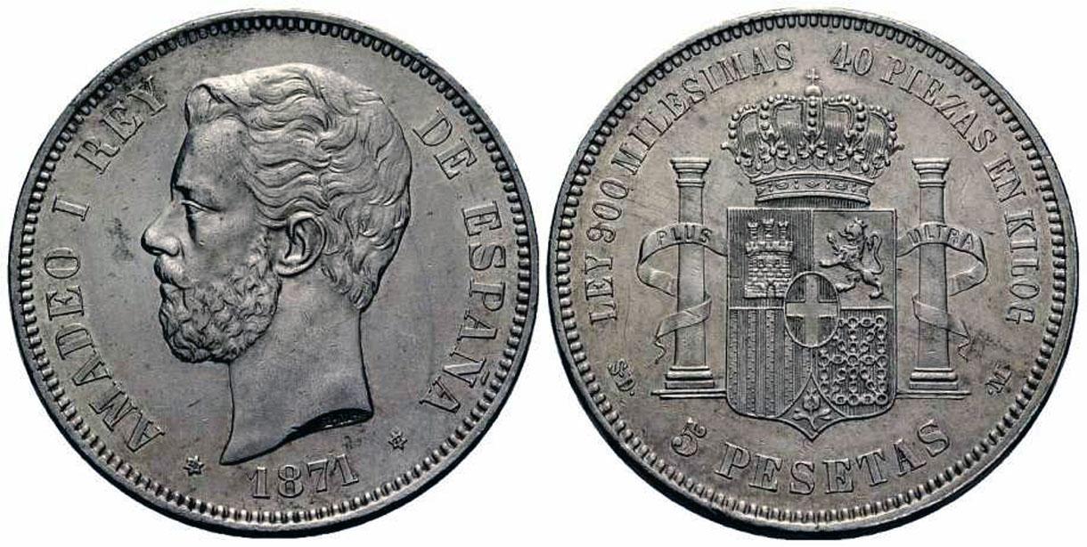 La progesion de la peseta y su decadencia. 1871_5ptas_amadeo_18_71_200