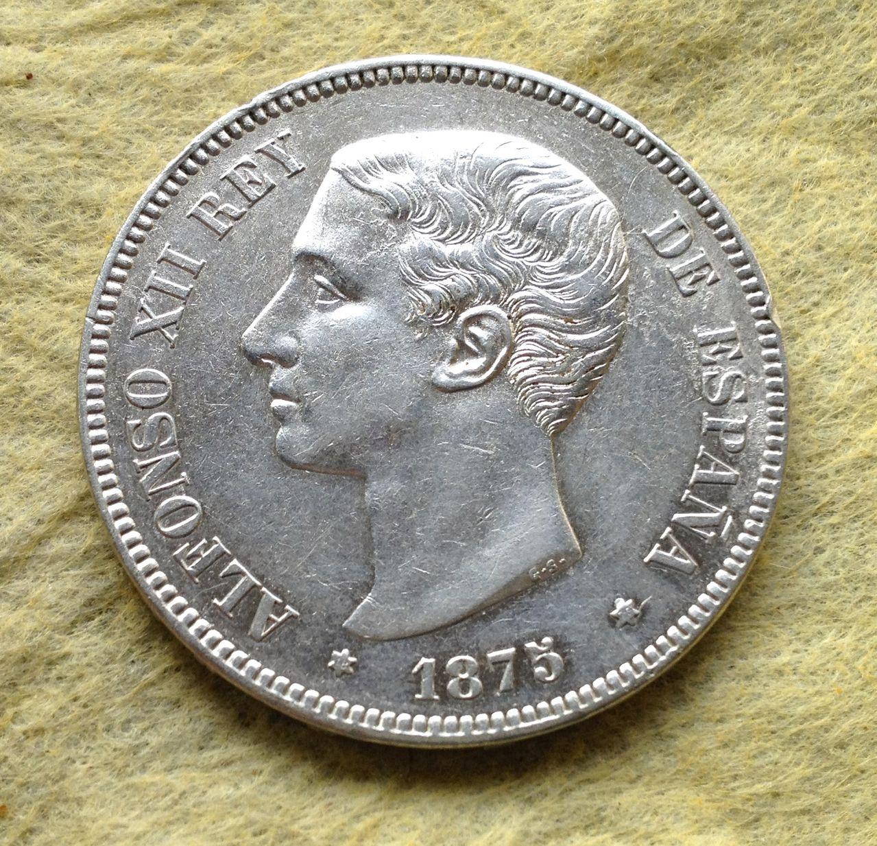 5 pesetas 1875 Alfonso XII IMG_2530