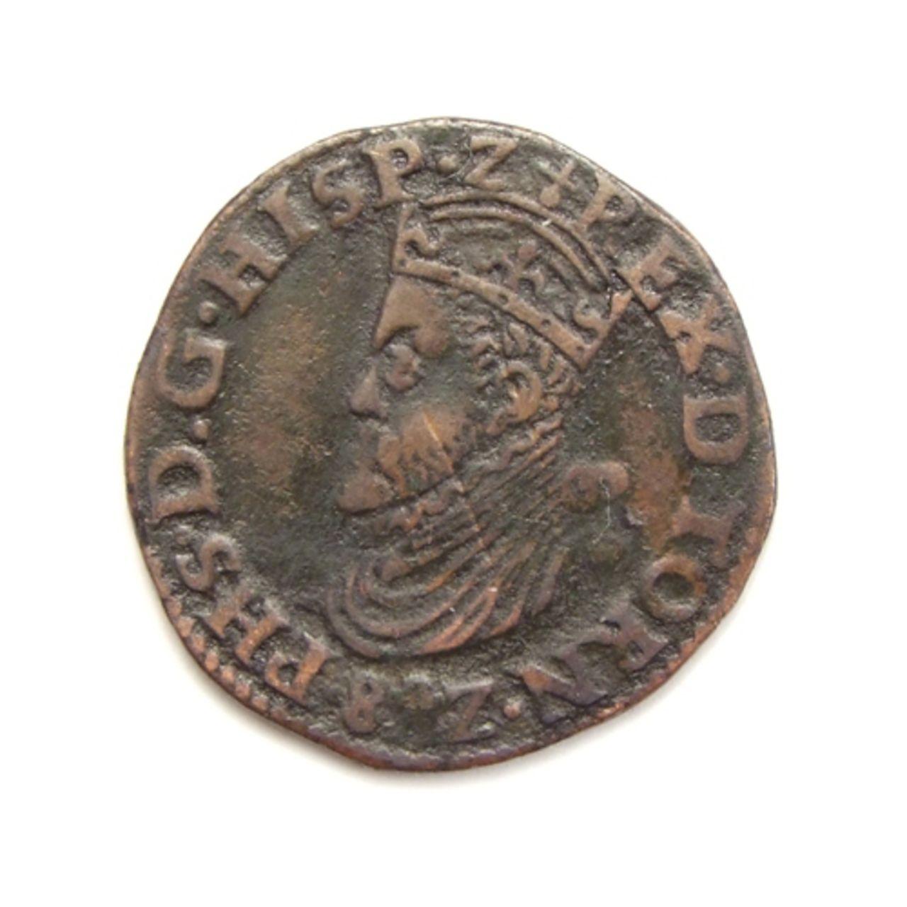 Hertogelijke Oord o Liard 1582. Felipe II. Doornik (Tournai). Spaanse_nederlanden_doornik_oord_1582_5034_0