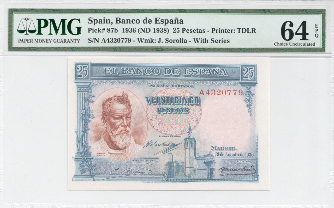 Colección de billetes españoles, sin serie o serie A de Sefcor - Página 3 25_del_36_anverso