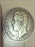 5 pesetas 1871 Amadeo I  Image