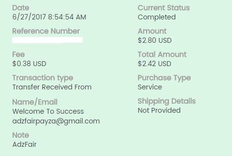 1º Pago de Adzfair ( $2,80 ) Adzfairpayment