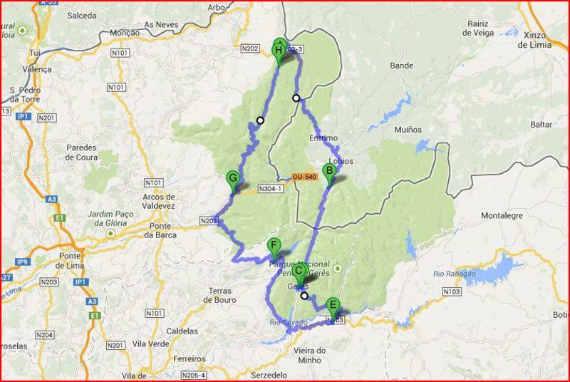 mapa geres pontos interesse a passear pelo Gerês e Lamas de Mouro mapa geres pontos interesse