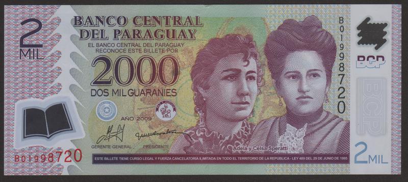 2000 Guaranies Paraguay, 2009 (Polimero) Anverso_2000_guaranies