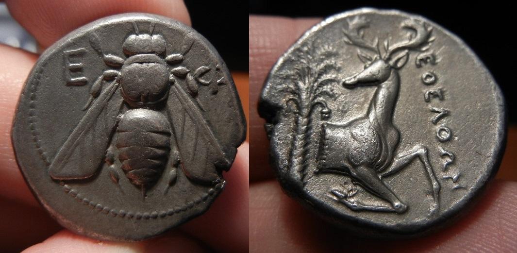 Tetradracma Rodio. Éfeso. Satrapía de Mausolo, Artemisia II o inicios de Hidreo. Imperio Persa. Magistrado: EΘEΛΘΩΝ (Eoelthon). Año: 360-350 a.C. DSCN9616_u67u76u76