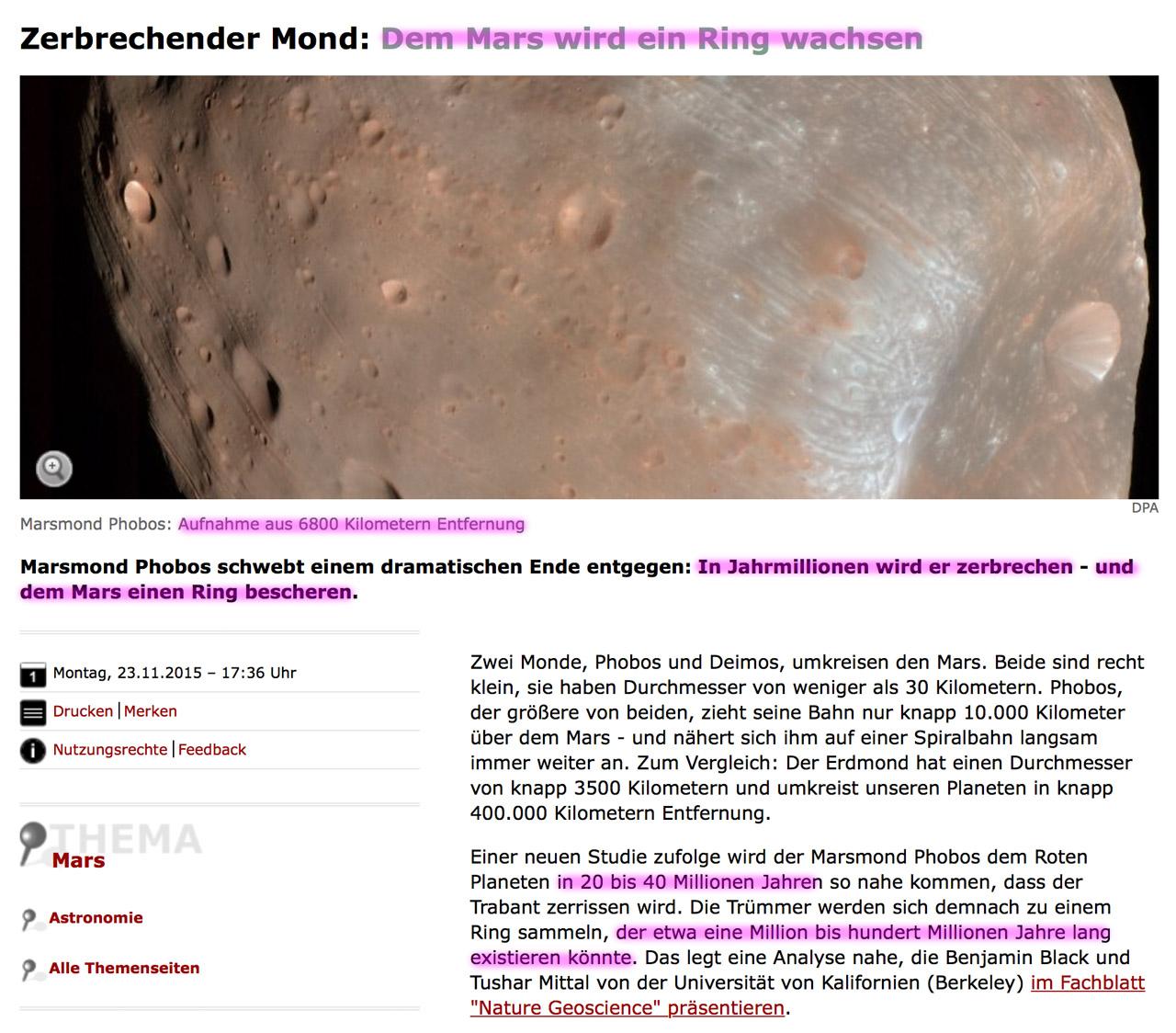 Die Erde, in der wir leben und der Raum, der die Welt ist - Seite 15 Mars