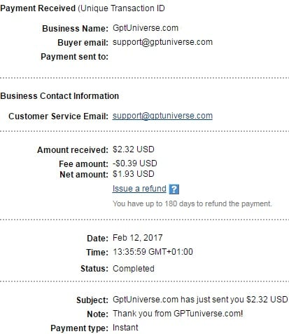 1º Pago de Gptuniverse ( $2,32 )   Gptuniversepayment