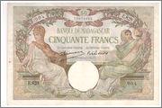 50 Francs 1937-47, Madagascar  Madagascar_P38_50_francs_1937_47