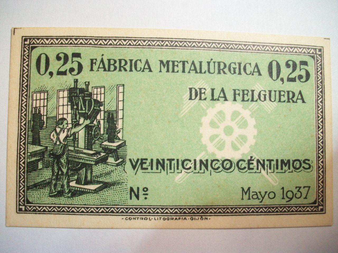 25 Cts. Fábrica metalúrgica de La Felguera. Mayo de 1937. SC F_brica_metal_rgica_de_La_Felguera_25_Cts_Sin