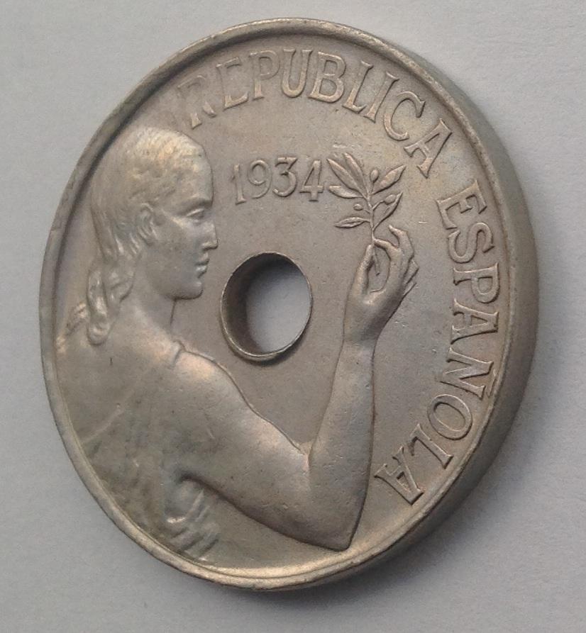 25 Céntimos 1934. II República Española Image