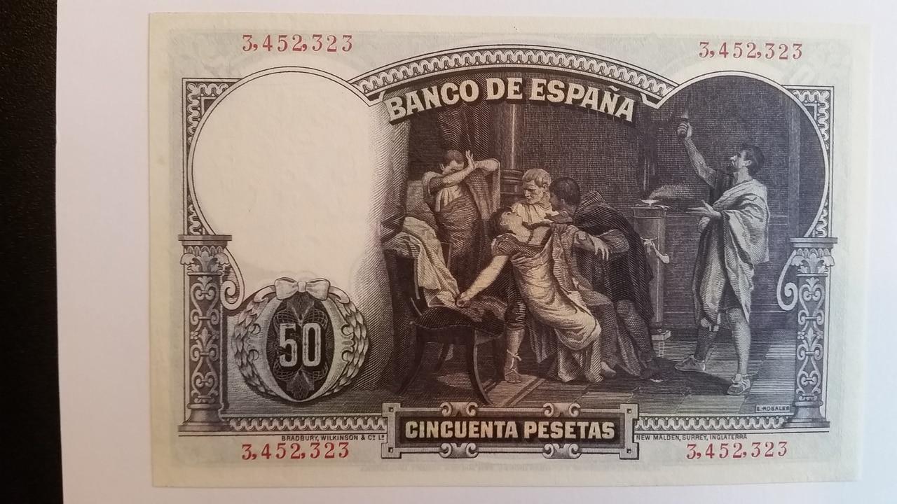 Colección de billetes españoles, sin serie o serie A de Sefcor pendientes de graduar 20161217_121053
