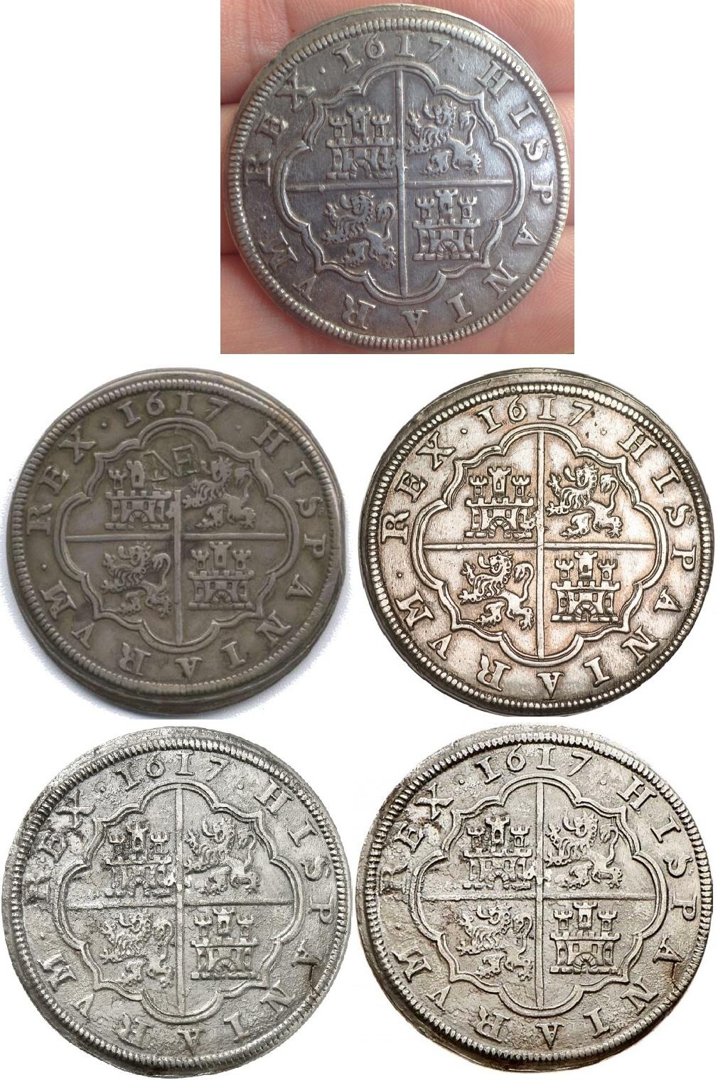 8 reales de 1617, Felipe III, Segovia  Reversos