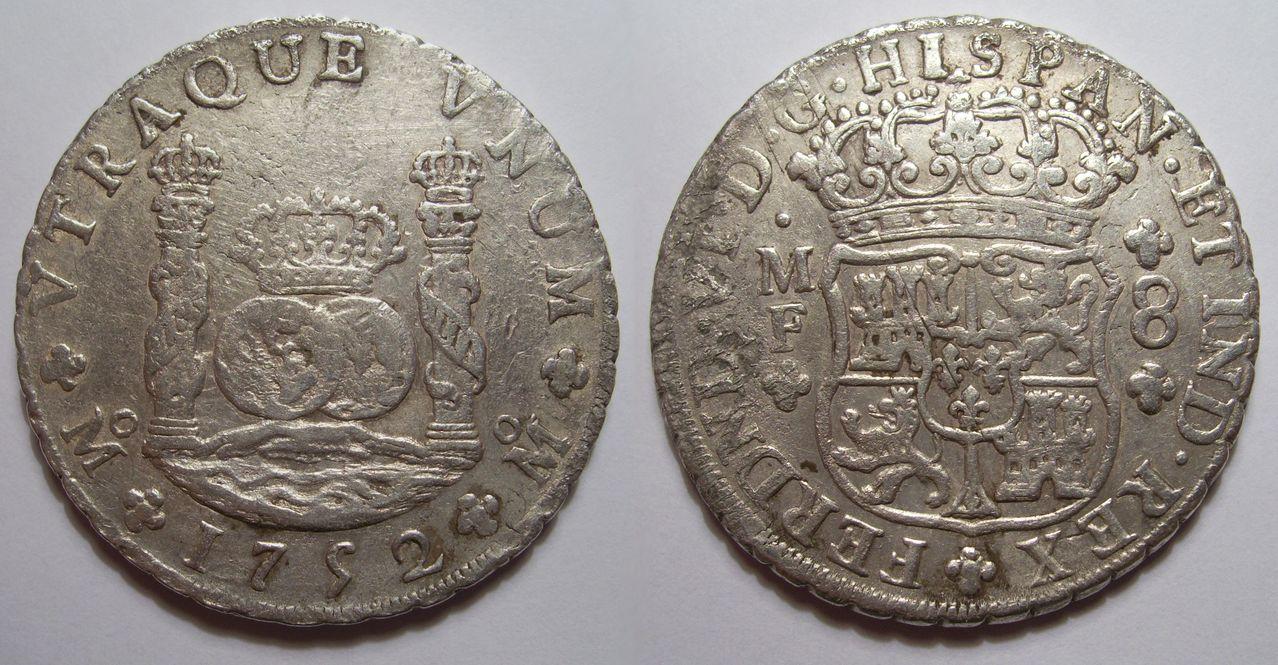 """8 reales """"columnarios"""" 1752. Fernando VI. Méjico. Columnario"""