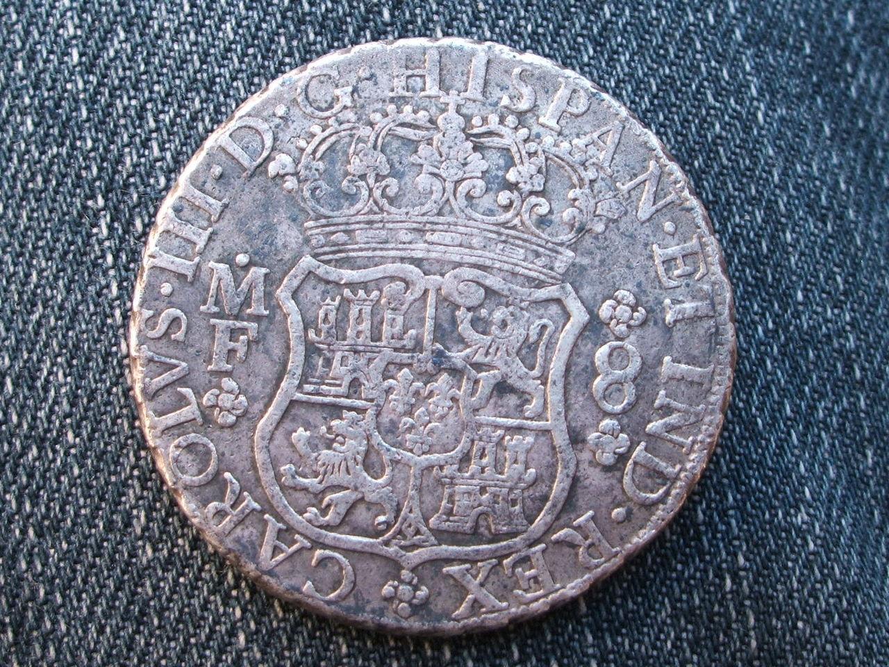 """8 reales """"columnarios"""" 1768.  Carlos III. Méjico. 014"""