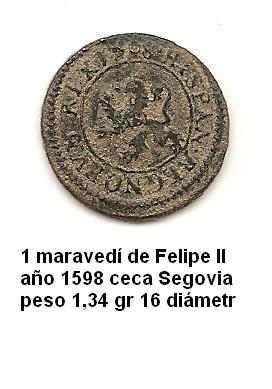 1 maravedí de Felipe II año 1598 Image