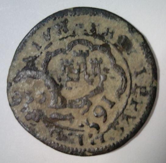 4 maravedies de Felipe III ceca de el Real ingenio (Segovia), con resellos. Image