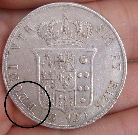 120 Grana 1854, Reino de Nápoles y Sicilia. Moneda