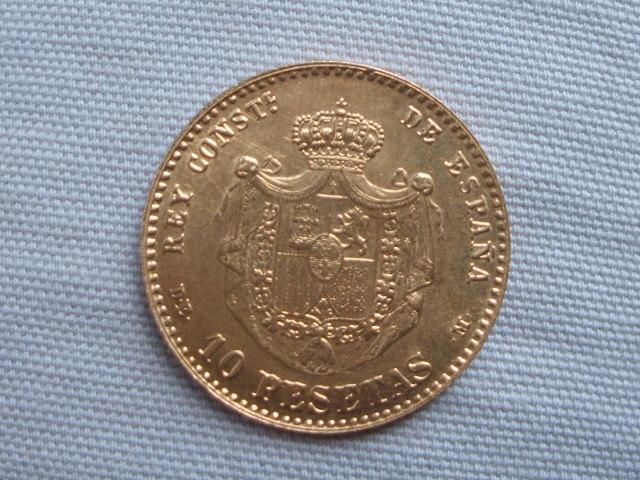 10 Pesetas 1878 *62 Alfonso XII (reacuñación ) 011