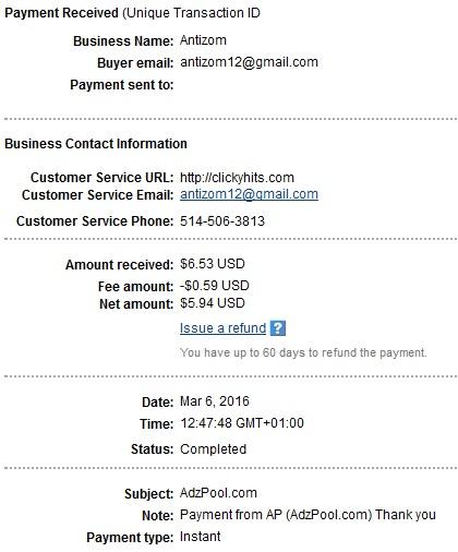 2º Pago de Adzpool ( $6,53 ) Adzpoolpayment2