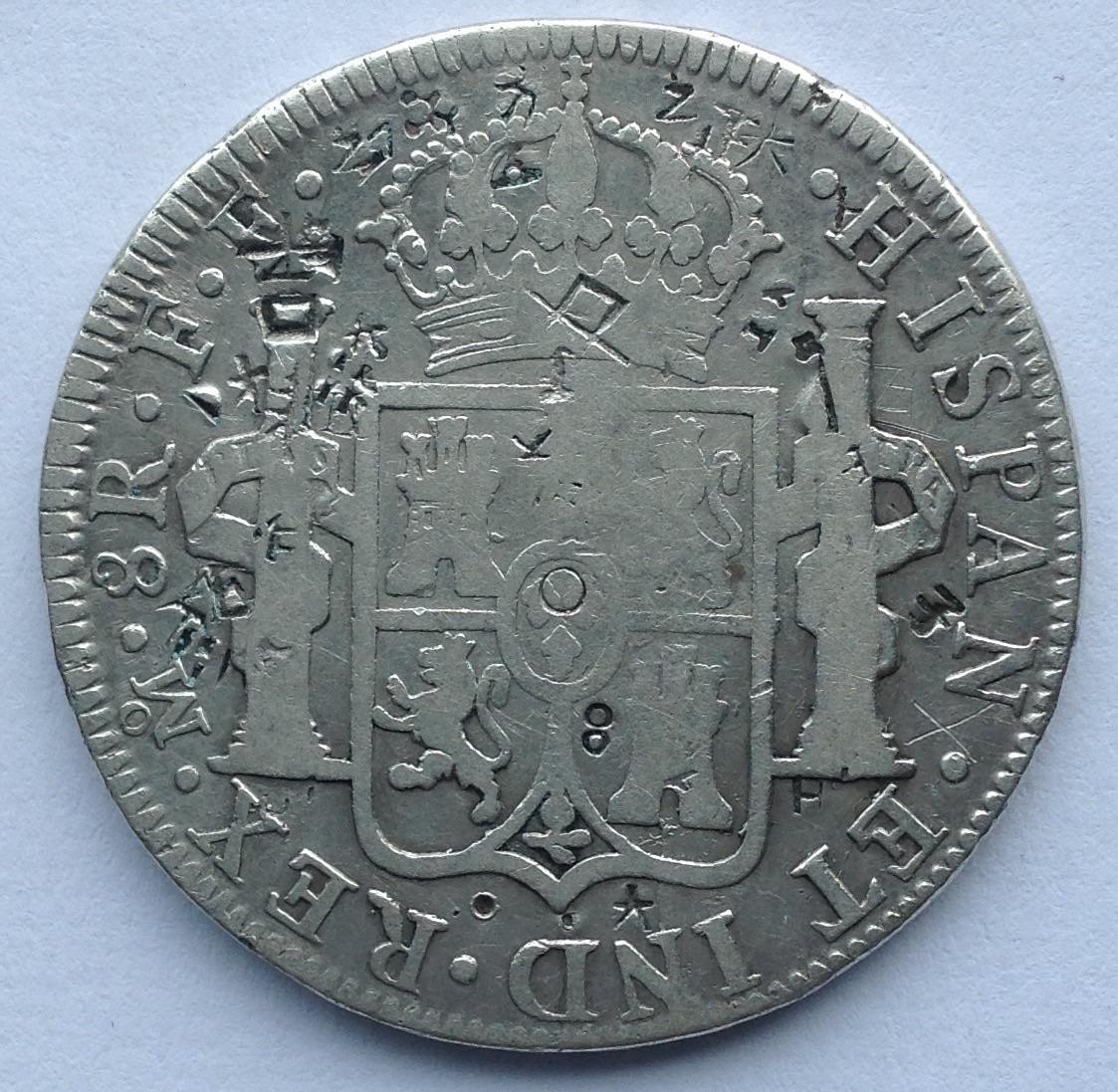 8 reales 1782 Carlos III. Méjico. Resellos asiáticos Image