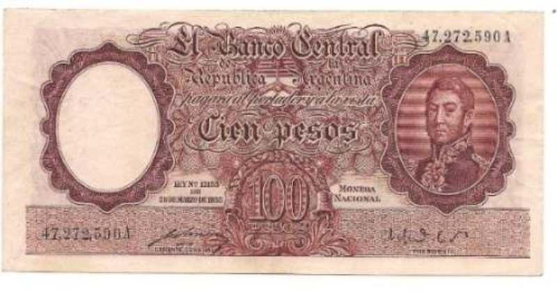1 Peso Argentina, 1947 Billete_de_100_pesos