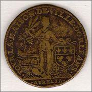 Jetón francés. Año 1608. Ville d'Orleans. Enrique IV. A DOMINO FACTVM EST ISTVD. 1608