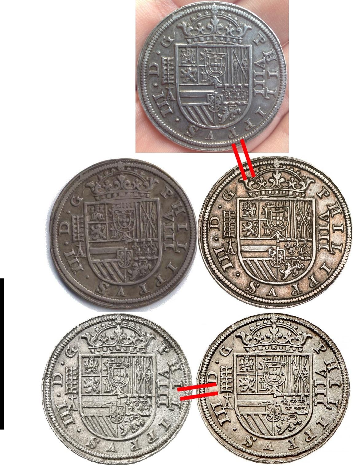 8 reales de 1617, Felipe III, Segovia  Anversos