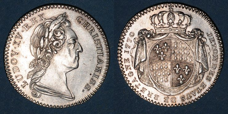Jetón de Luis XV de Francia. Estados de Bretaña. Dedicado a Terrón. Combined47078_1