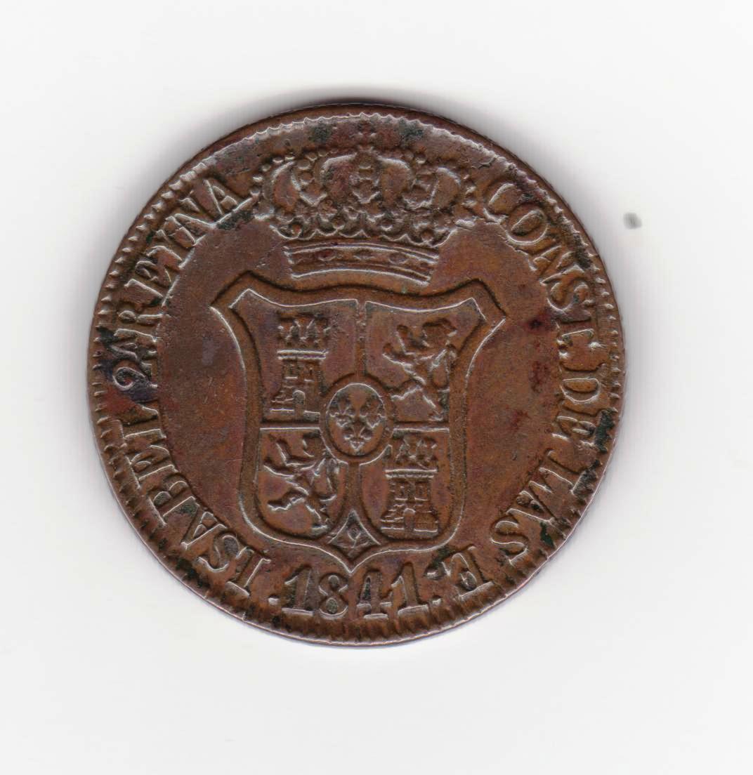 6 cuartos 1841, Isabel II 6_cuartos_1841