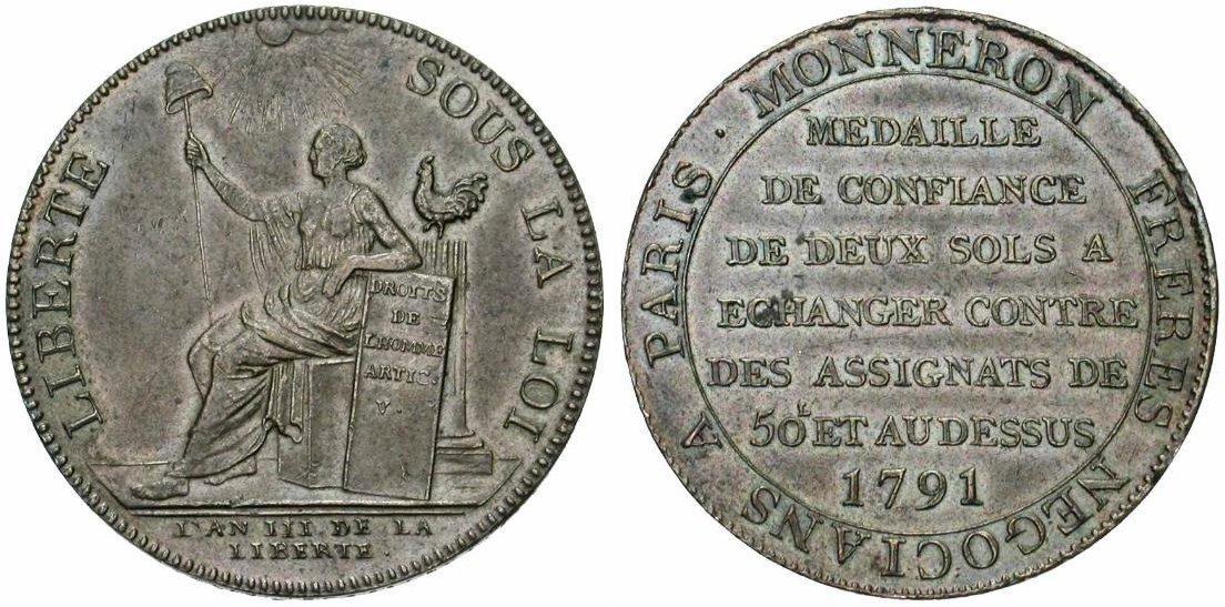 5 Sols Monneron Freres 1793 Francia Monneronliberte
